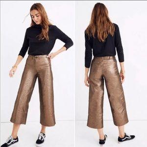 MADEWELL Emmett Wide-Leg Crop Pants in Metallic 29